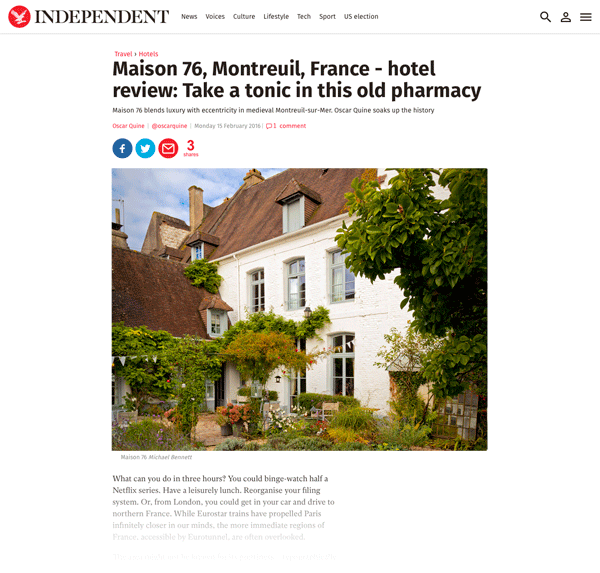 Maison 76 in The Independent Travel